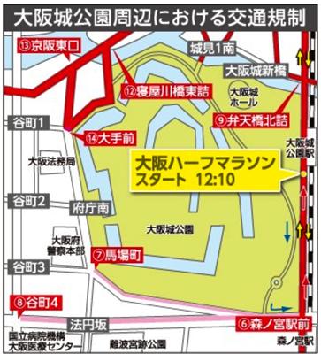 大阪城公園周交通規制